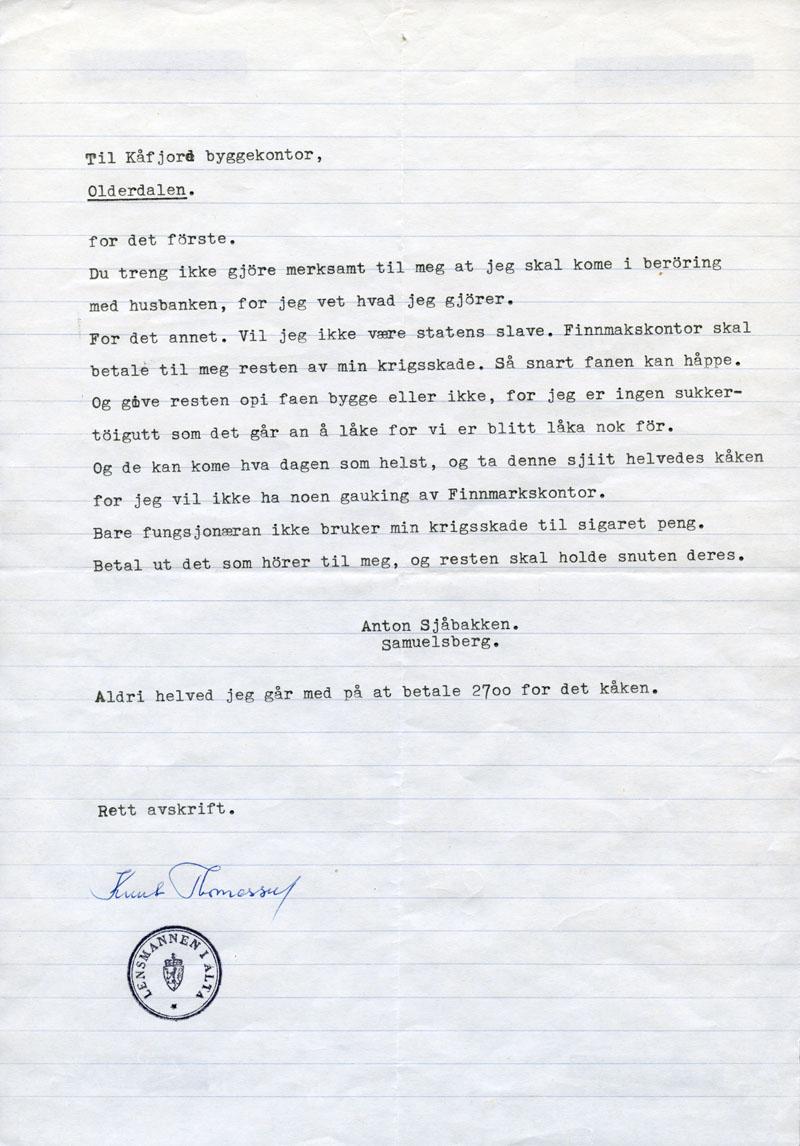 Sjåbakkens brev til Kåfjord byggekontor.