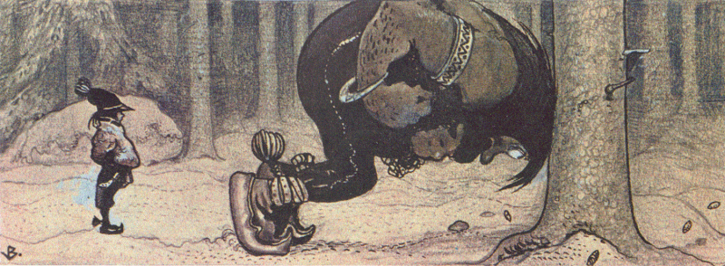 Tegningen viser Stalo og Kauras, et samisk folkeventyr gjendiktet av svensken P. A. Lindholm på begynnelsen av 1900-tallet og illustrert av John Bauer.