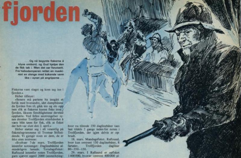 Illustrasjon til artikkelen Slaget i Trollfjorden, Vi menn 1972.