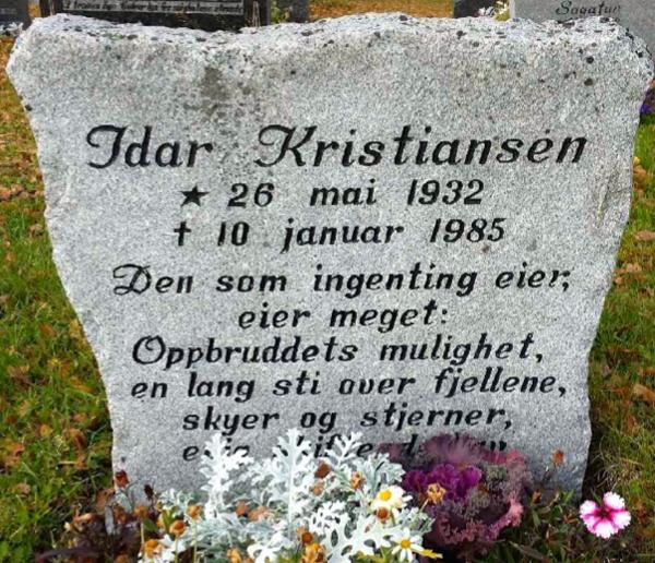 Idar Kristiansen gravsten.