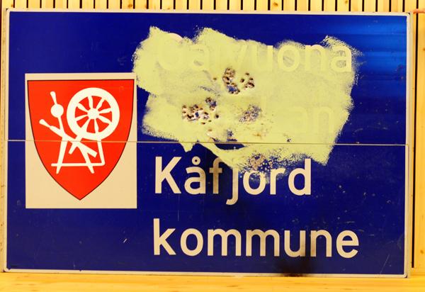 Sønderskutt skilt Kåfjord kommune.