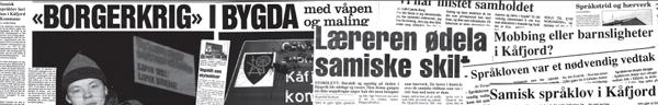 Avisutklipp fra språkstriden i Kåfjord