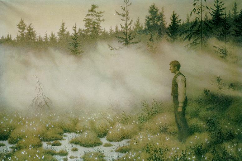 «Huldra forsvant» av Theodor Kittelsen. Akvarellen viser huldra som blir borte etter å ha lokket en ung mann ut på ei myr.